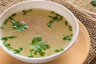Chicken broth with parsley