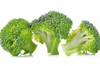 fresh broccoli isolated on white background .