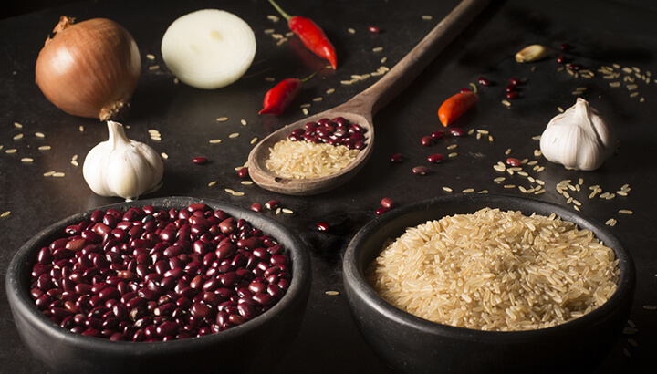 Rice and beans form a complete protein, helping your body to build muscle.